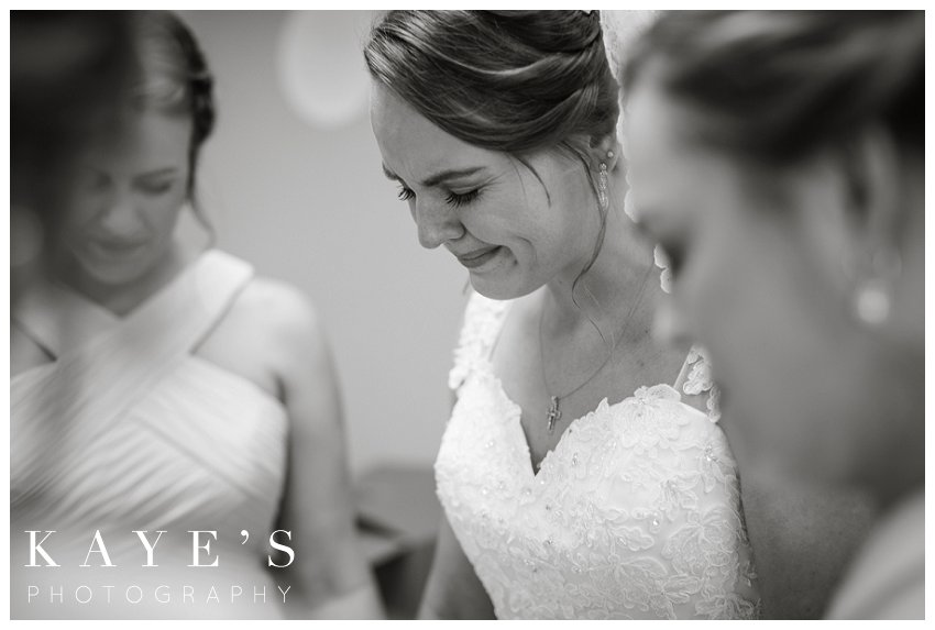 Bride crying during wedding in Flint Michigan