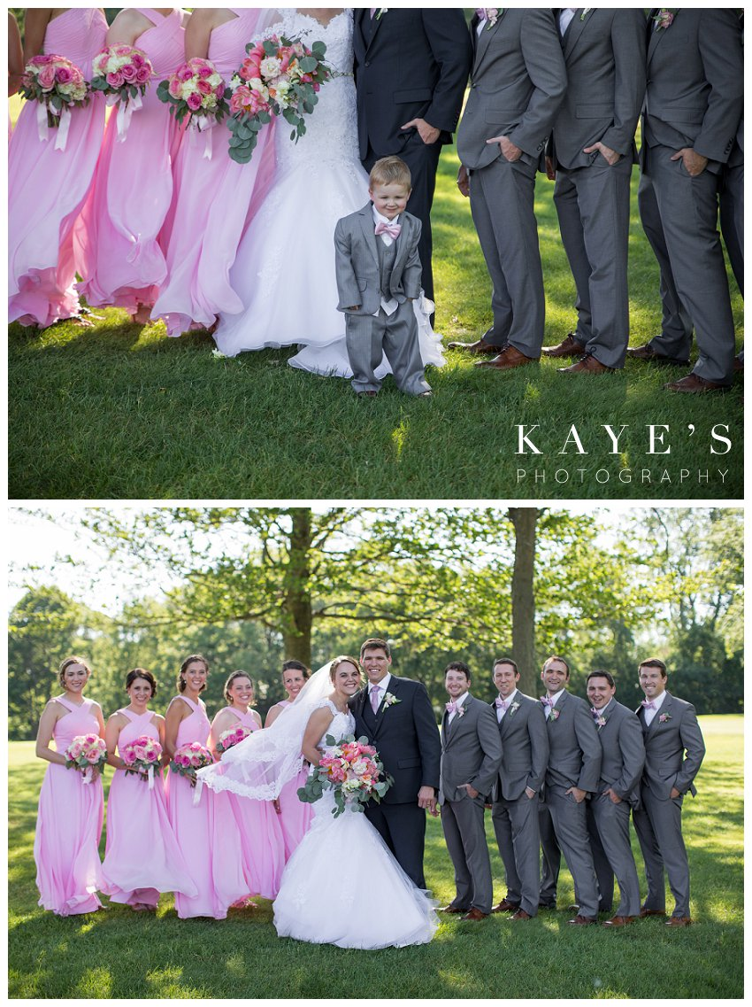 Bride and Groom with wedding party during photo shoot in Flint Michigan