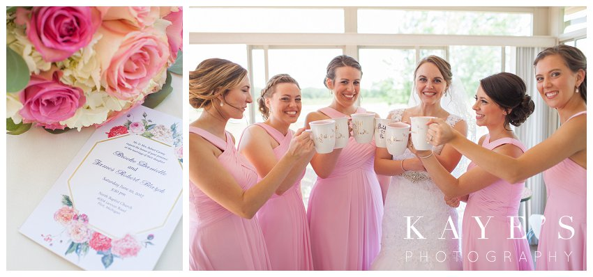 Bride toasting with her bridesmaids before wedding ceremony in Flint Michigan