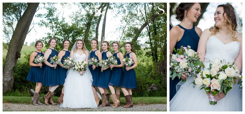 Bride and bridesmaids portraits outside at misty farms in ann arbor michigan