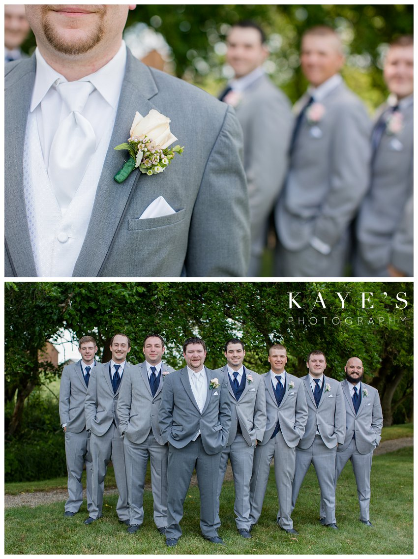 groom portraits outside during wedding portraits in ann arbor michigan at misty farms