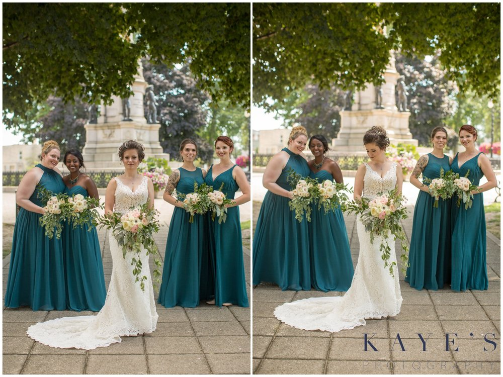 bride with bridesmaids in muskegon michigan