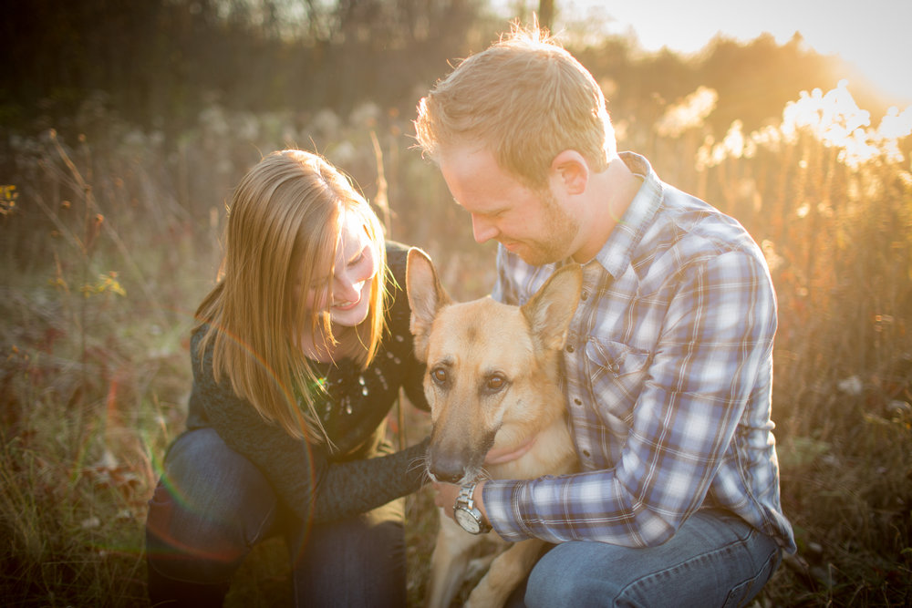 engagement portraits with your dog in Detroit Michigan with Kaye's Photography