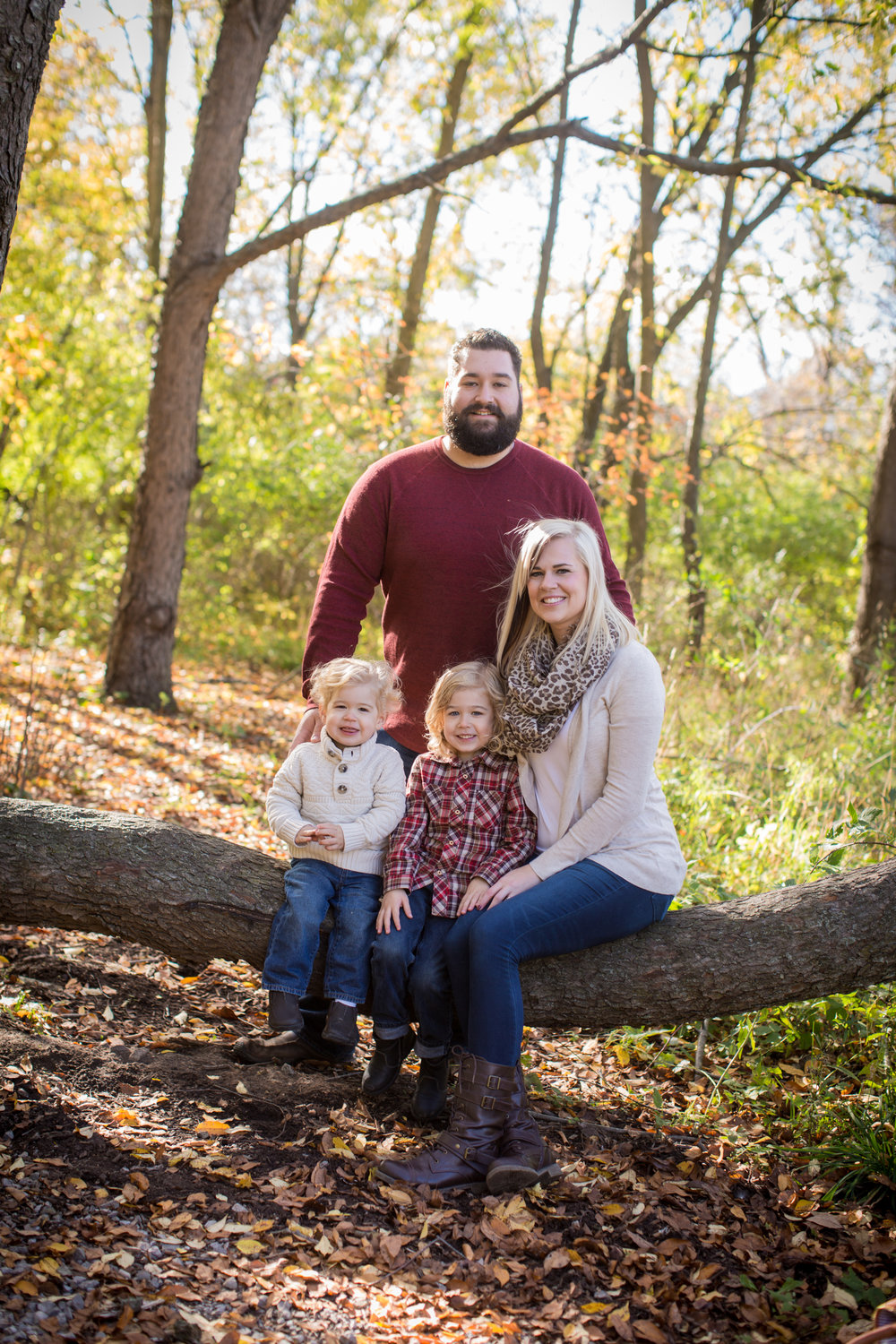 family posing on a tree in grand blanc michigan for kaye's photography