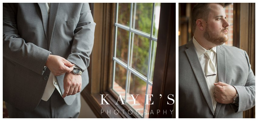 groom details being photographed by kaye's photography at captains club