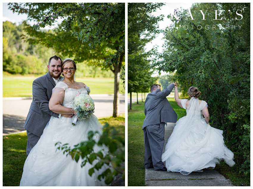 bride and groom portraits on wedding with Kaye's Photography wedding photographer