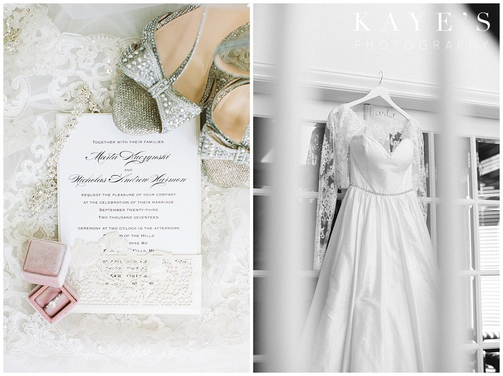 Grand Palazzo Wedding Details with invitation and beautiful wedding dress by Kaye's Photography