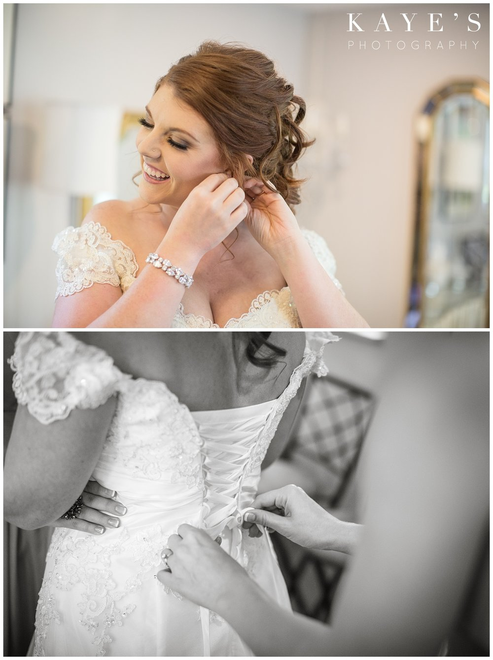 bride getting ready with detroit michigan wedding photographer
