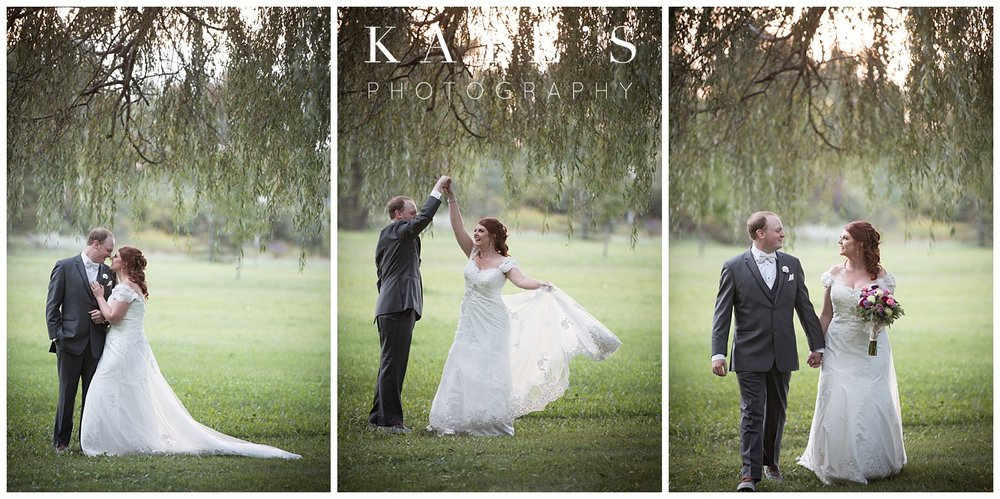 bride and groom portraits under willow tree on wedding day