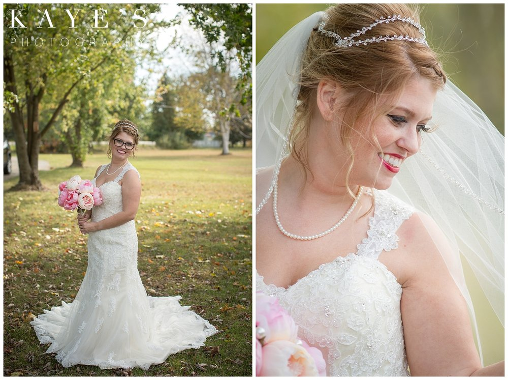 Bridal portraits outside on wedding day in Michigan fall wedding