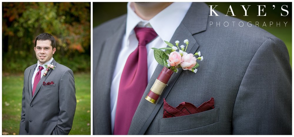 grey and burgundy color palette for a michigan fall wedding with kaye's photography