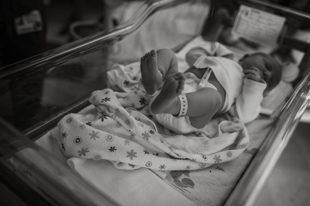 Newborn baby girl during fresh 48 session at the hospital