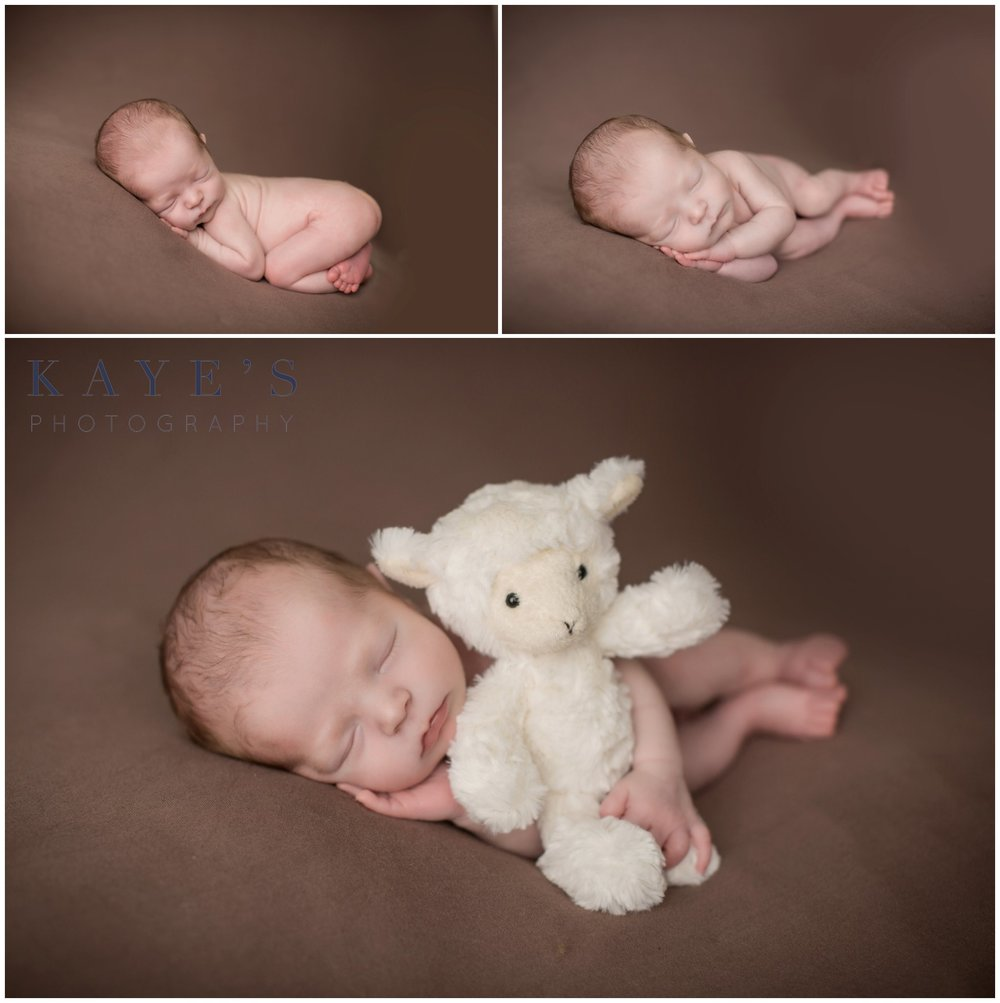 baby boy sleeping with stuffed lamb during baby photos