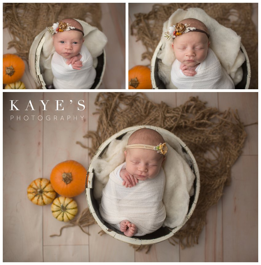 Newborn girl posing with pumpkins during professional baby photos