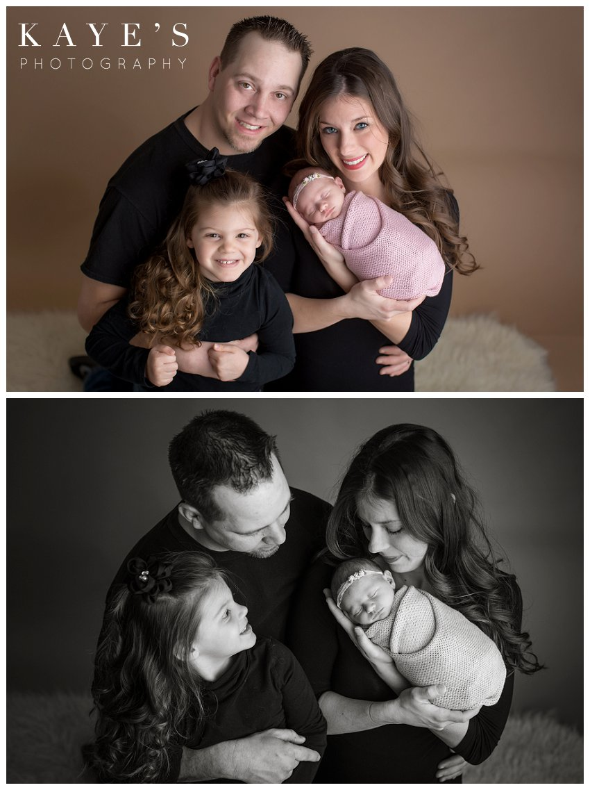newborn photo session with mom, dad and sister in color and black and white