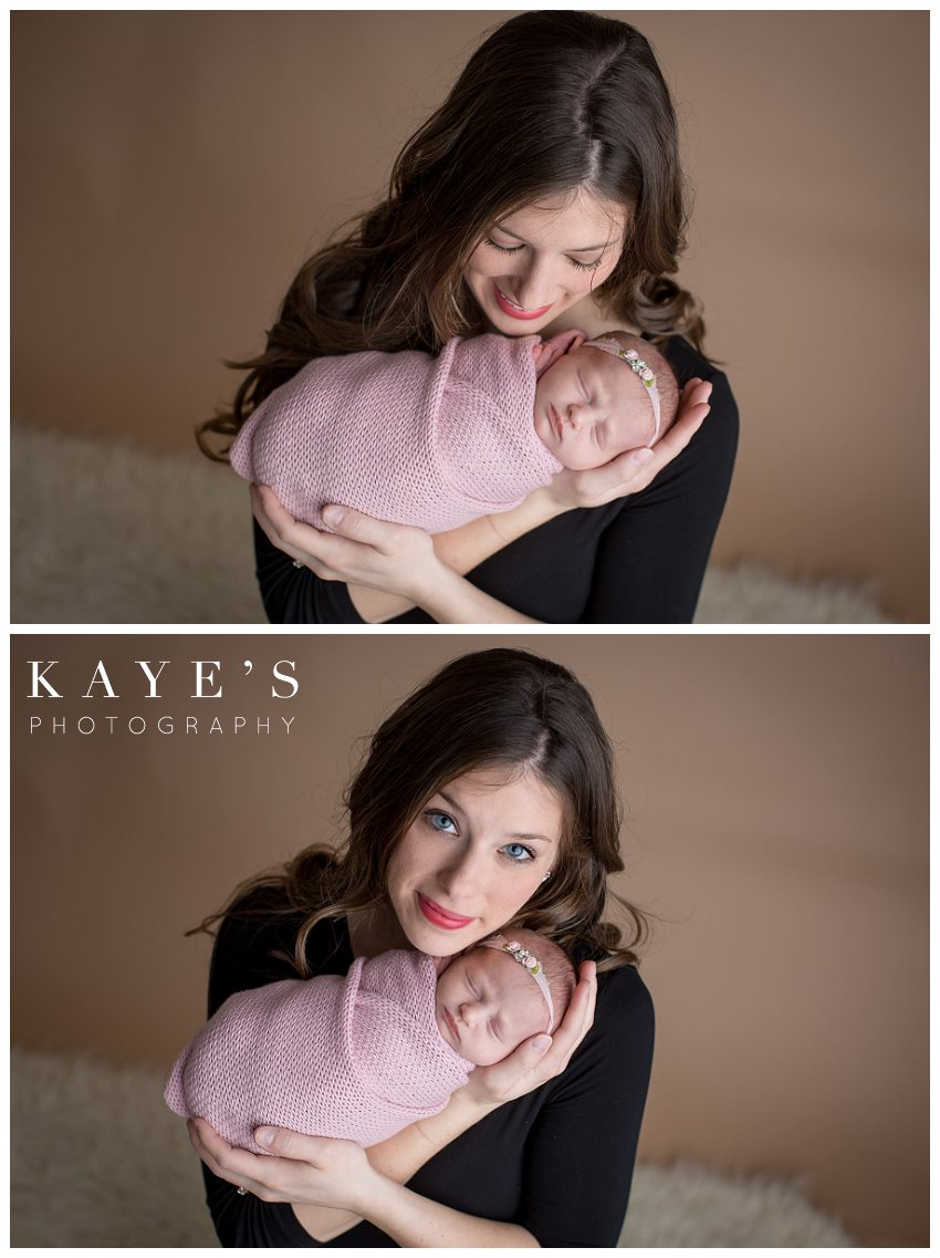 Mom with baby posing during newborn baby photos