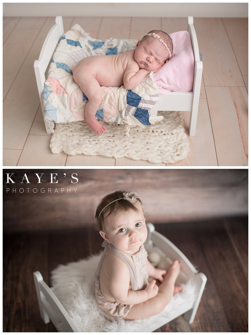 baby girl posing in bed for newborn baby photos and one year photos