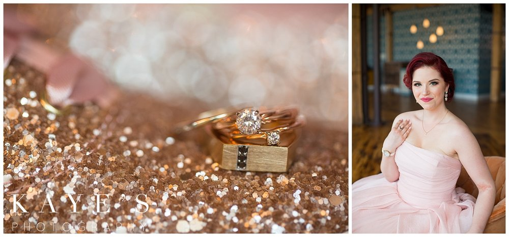 ring detail images with bridal portrait of vera wang pink wedding dress in grand rapids michigan