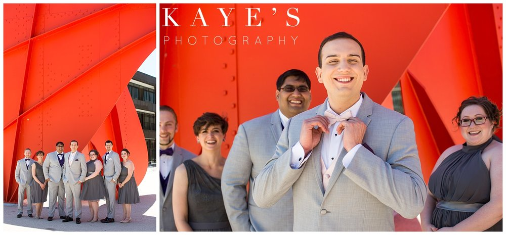 groom portraits at the Calder Plaza in grand rapids michigan