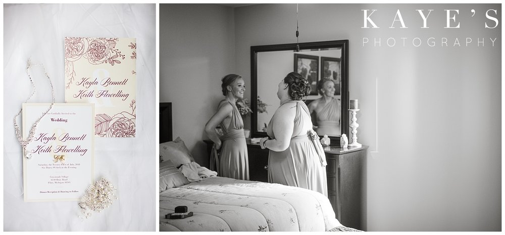 Bride details and bridesmaids getting ready for crossroads village wedding!!