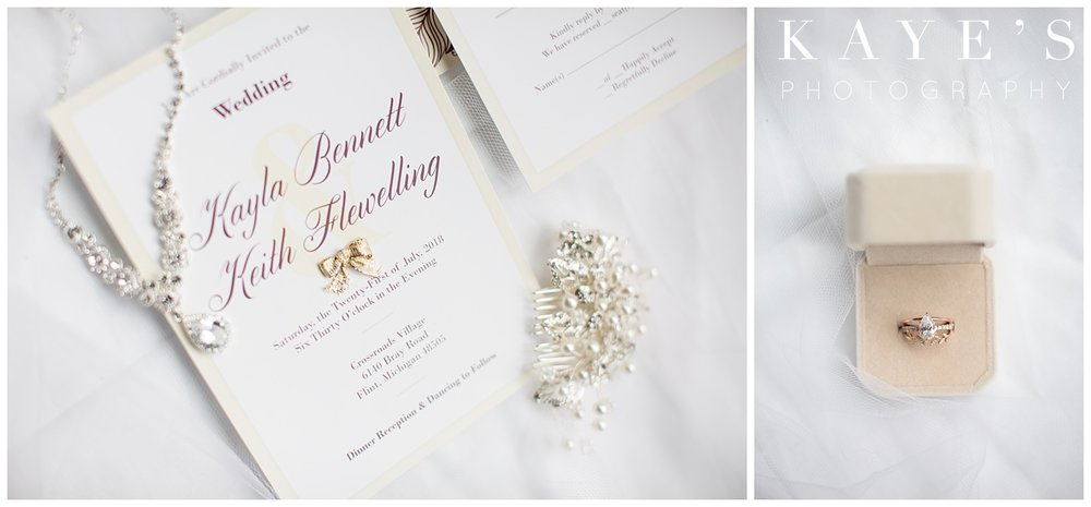Bridal details and rings during crossroads village wedding in Flint, Michigan!!