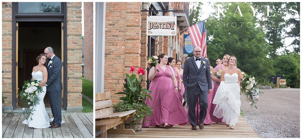 Bridal party posing for professional photographer in flint michigan at crossroads village!!