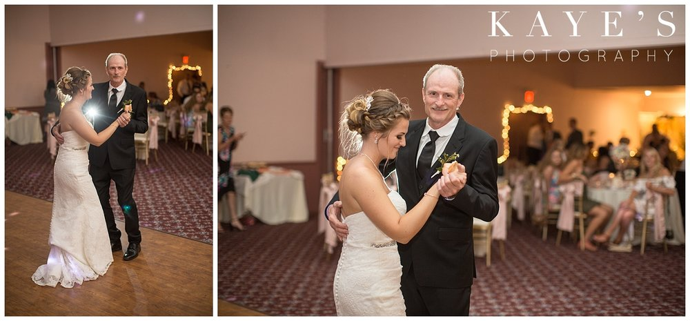 Bride dancing with her father during wedding at crossroads village in Flint!!