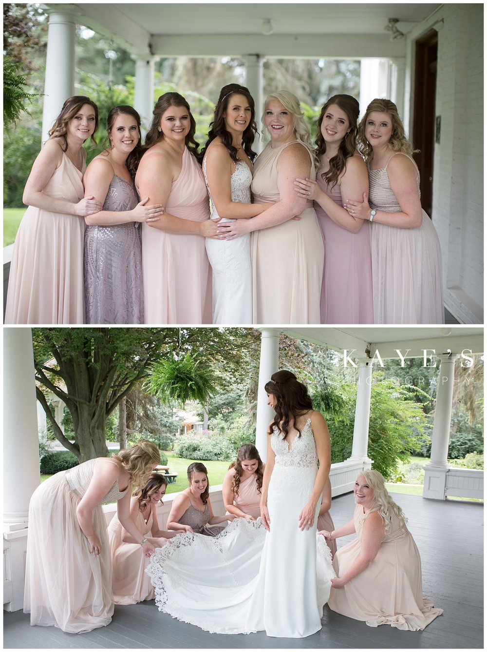 bride with bridesmaids getting ready for waldenwoods wedding