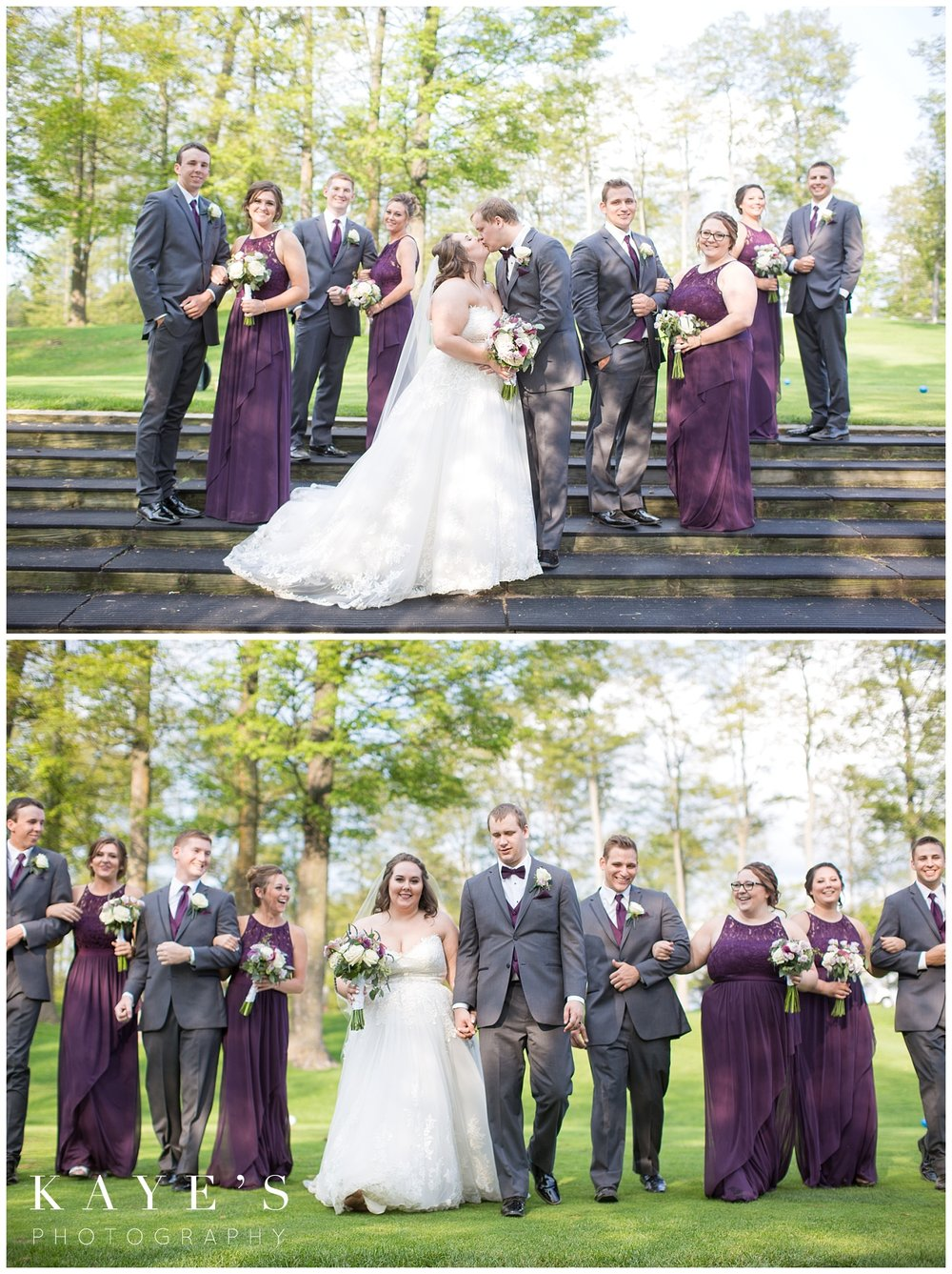 bridal party casual photos after wedding ceremony by kaye's photography