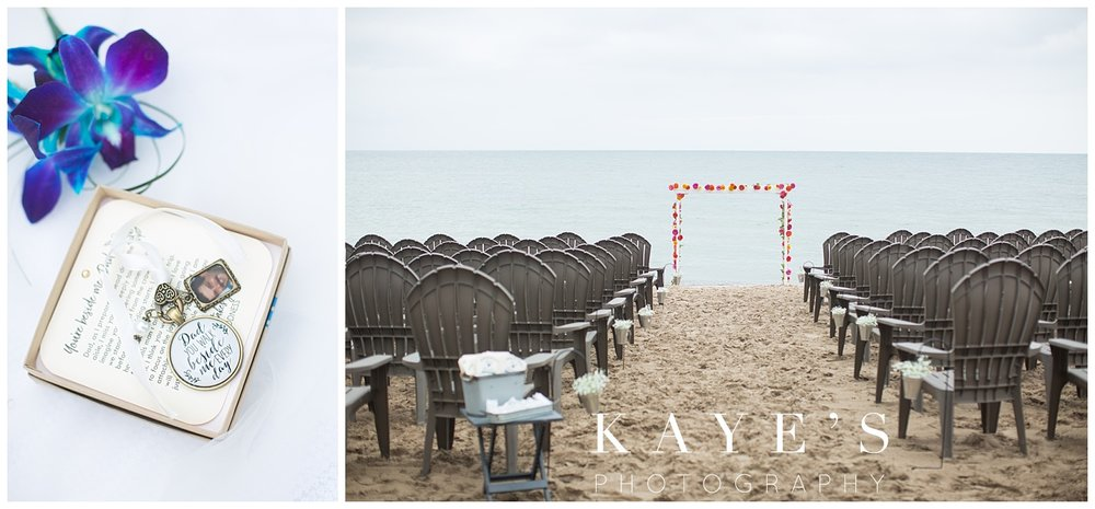 wedding details for an up north Michigan beach wedding in tawas city