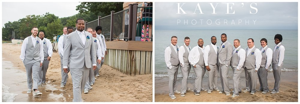 Groomsmen posing for professional wedding photographer in tawas city Michigan