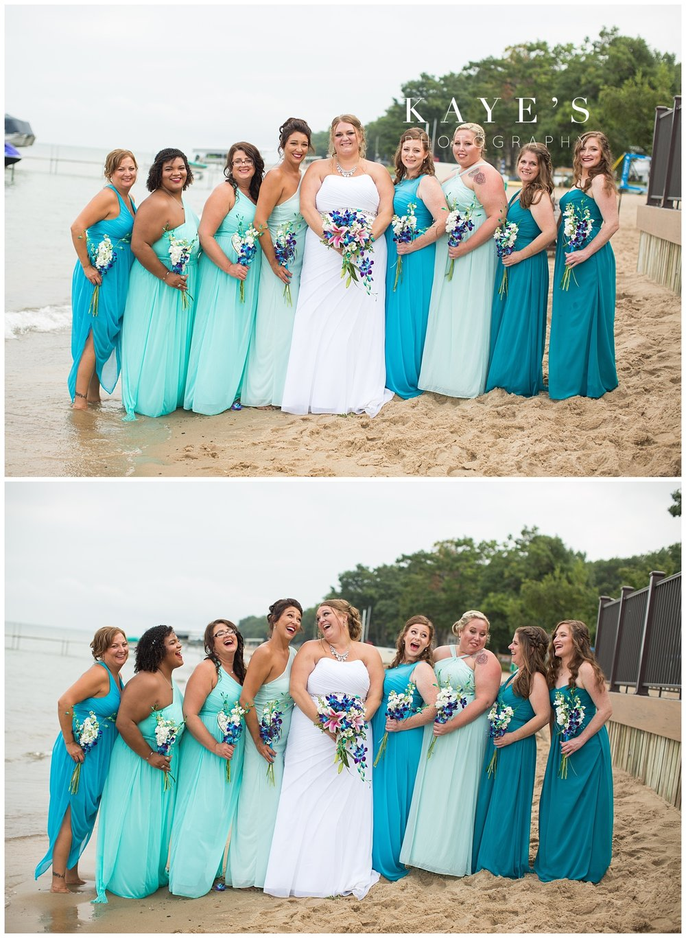 Bridesmaids posing for professional wedding photographer in tawas city Michigan