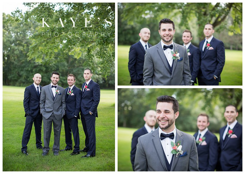Groom posing with groomsmen for professional wedding photographer at Flushing Valley Golf Club