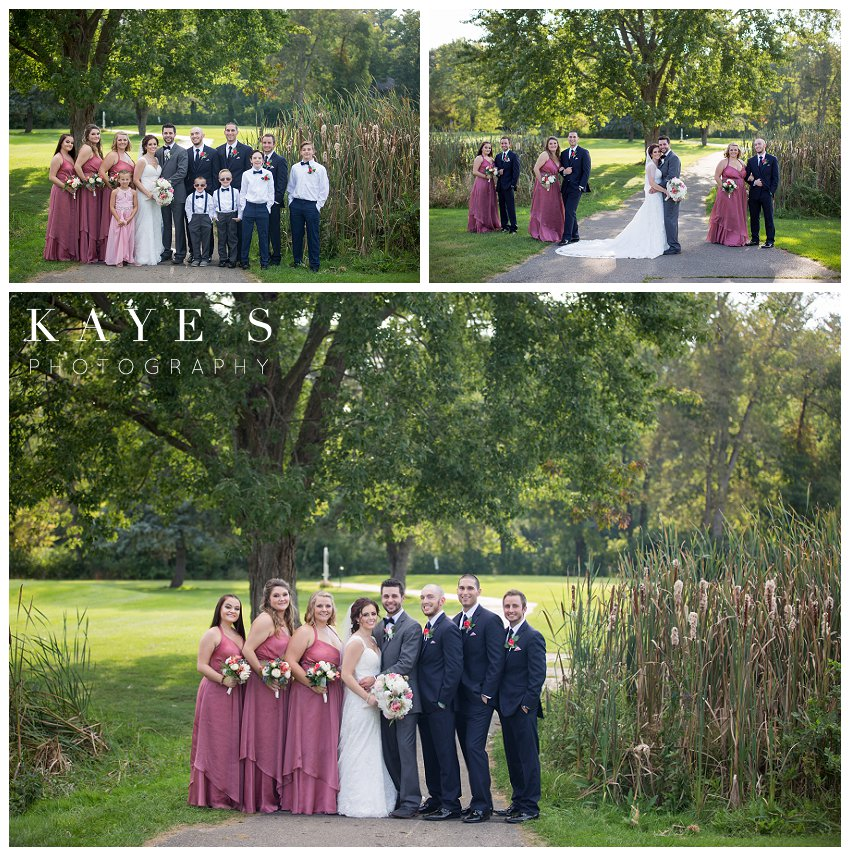 Bride and Groom with bridal party posing for professional wedding photographer during wedding at Flushing Valley Golf Club
