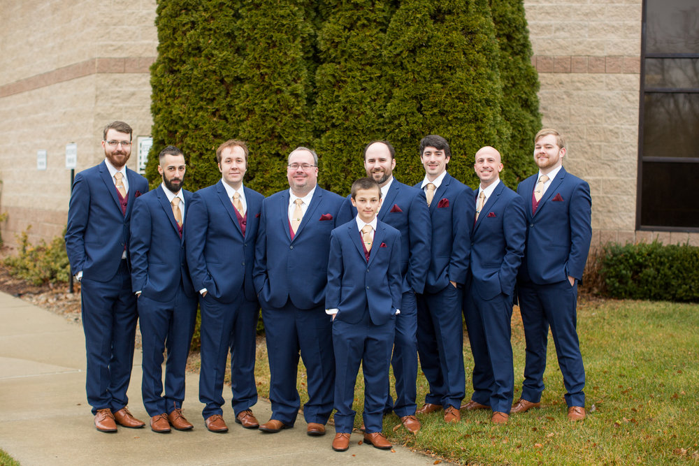 Groom and Groomsmen during wedding portraits in detroit, Michigan