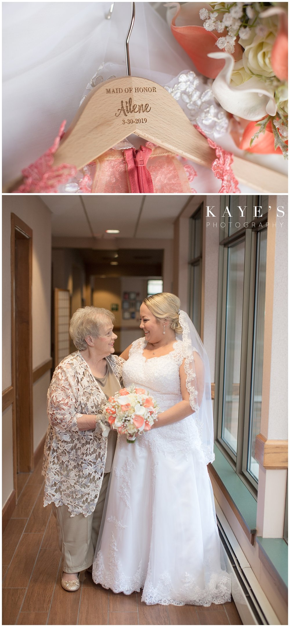 bride with grandmother before ceremony at lapeer country club by kaye's photography