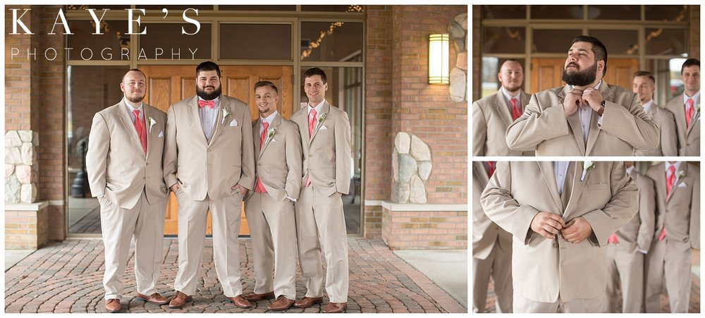 groom portraits in michigan wedding before wedding ceremony by kaye's photography