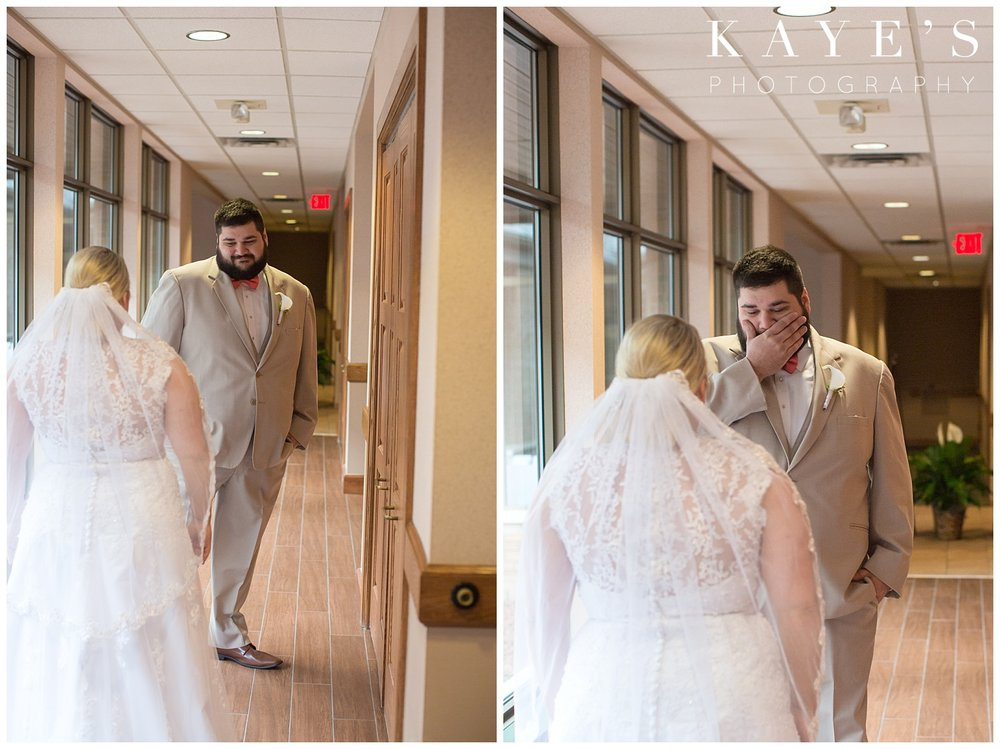 first look with bride and groom at lapeer country club by kaye's photography