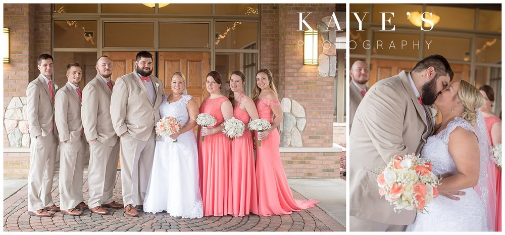 bridal party photos with bridesmaids in coral dresses at lapeer country club