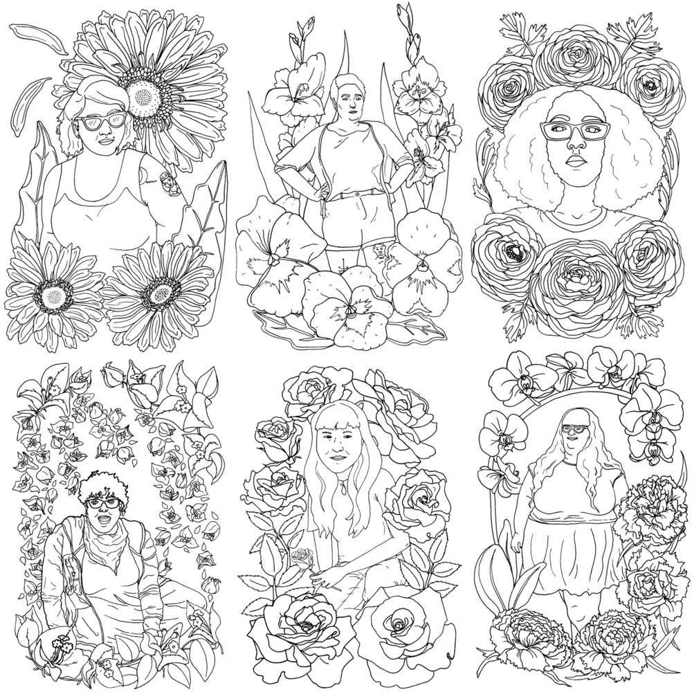 excerpts from femmes & flowers coloring book zine
