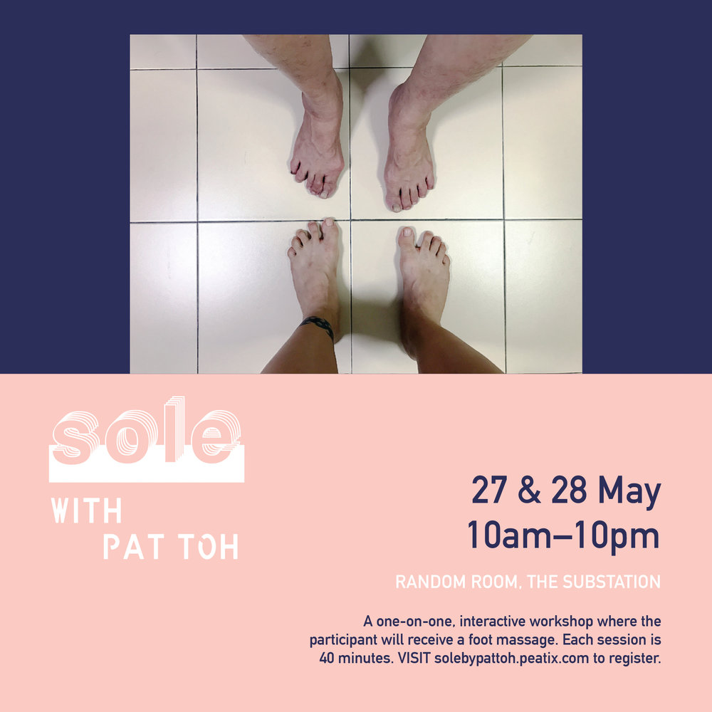 SOLE with Pat Toh. Our life is a collection of innumerable singular steps. Each step is a tactile negotiation between the earth and the sky. Each step reveals the social systems, education and cultural appropriation of the individual. Each step creates paths that intertwine, weaves people and places together. Each step in the swarming mass of steps articulates a way of being in the world. What would your steps transcribe?