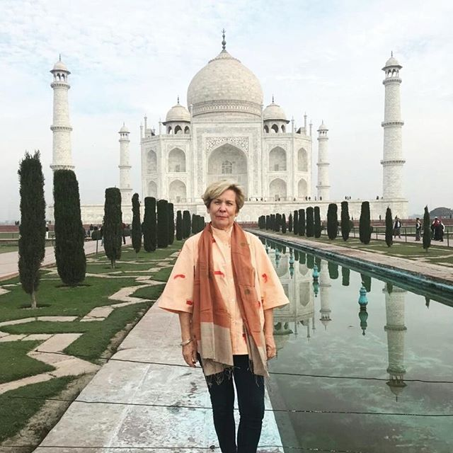 The fabulous Jo @travelbyboomer in our Colour Between the Lines Embroidered Shirt at the Taj Mahal earlier this week. We are in love!! ❤❤❤