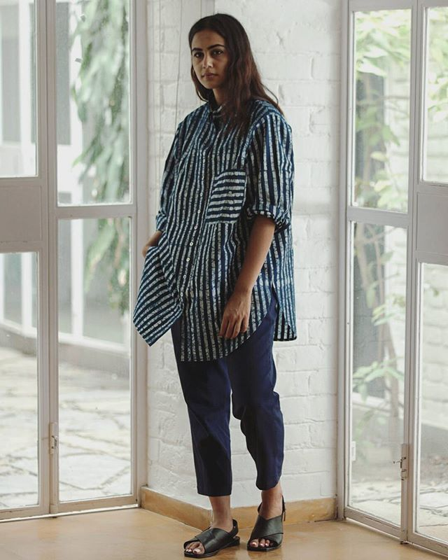 Casual stripe vibes. Batik striped Dyer's Shirt paired with the Fisherman Trousers