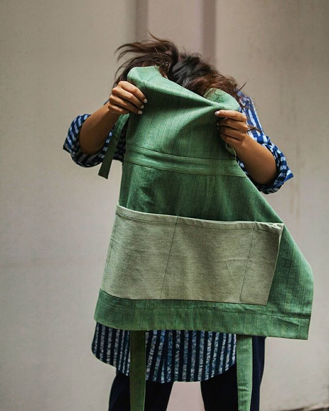 Our Boro Apron from SS18. Featuring the kangaroo pouch pocket and made from plant dyed organic denim 💚