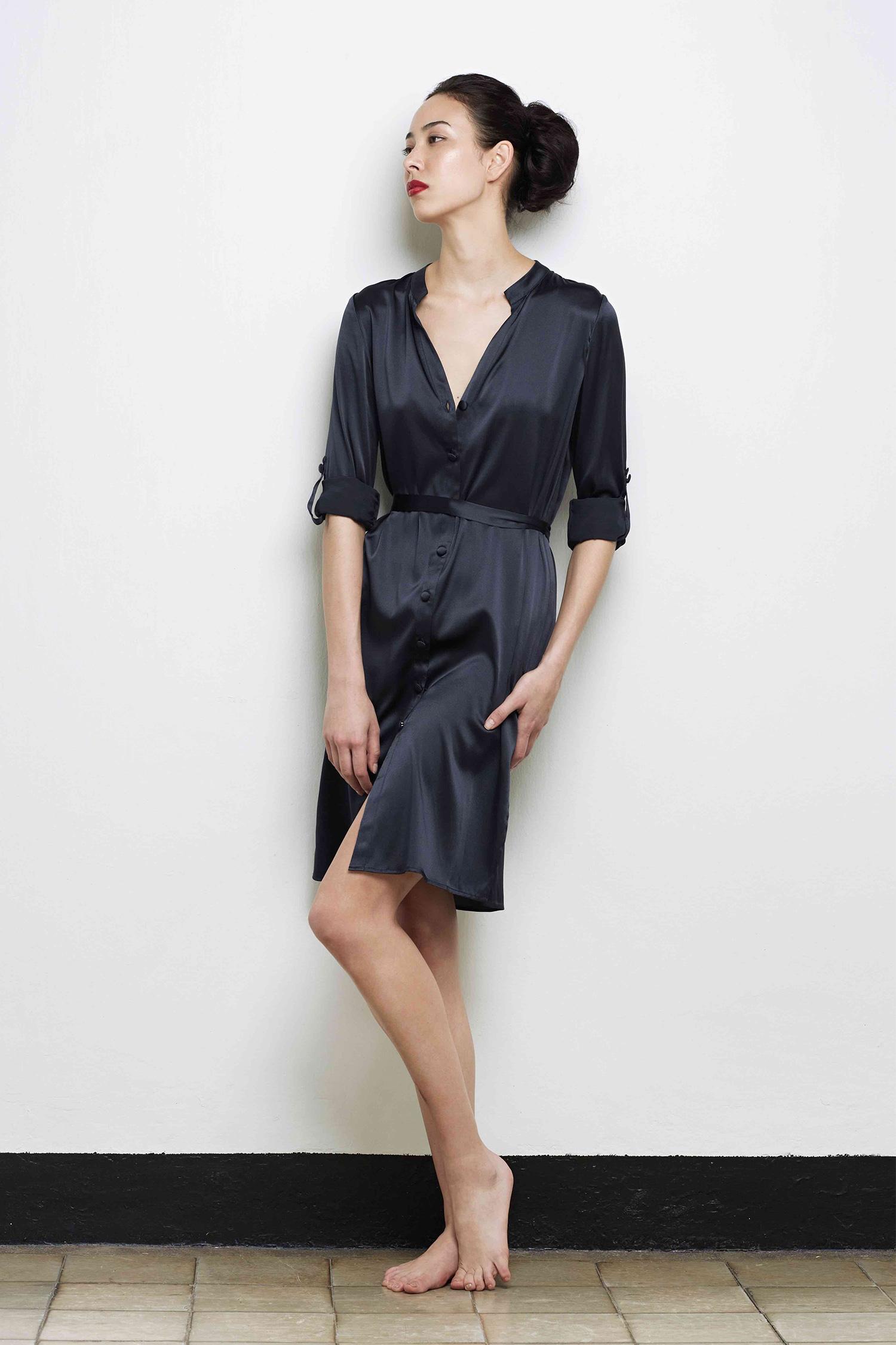 Charlotte Silk Shirt Dress Luxury Silk Lingerie Loungewear