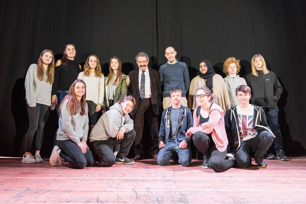 Students pose for a snap with Lord Robert Winston.