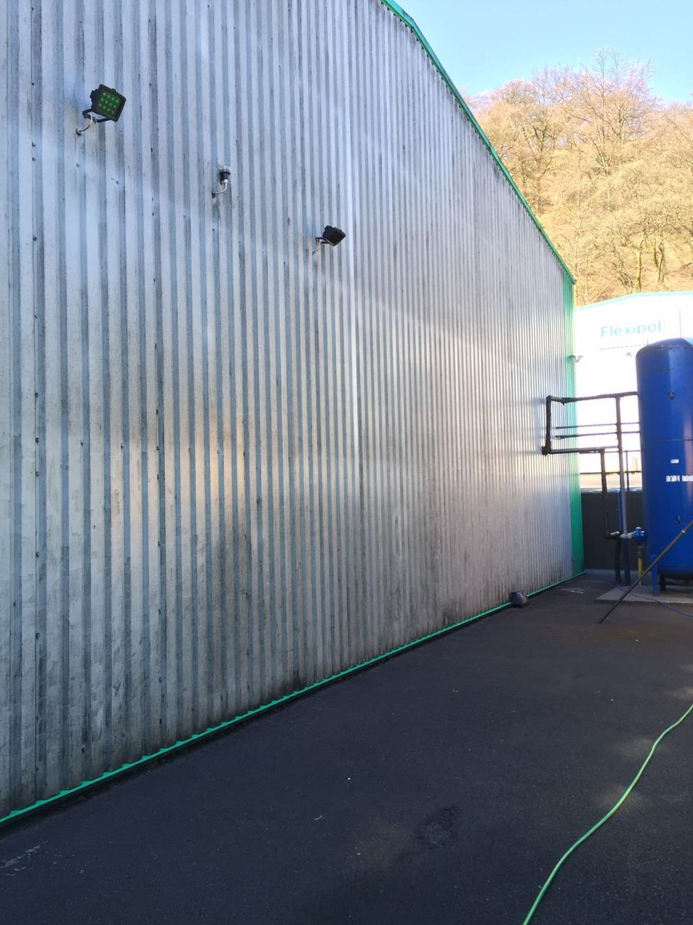 Commercial cladding Softwash treatment at a company in Helmshore, Lancashire.
