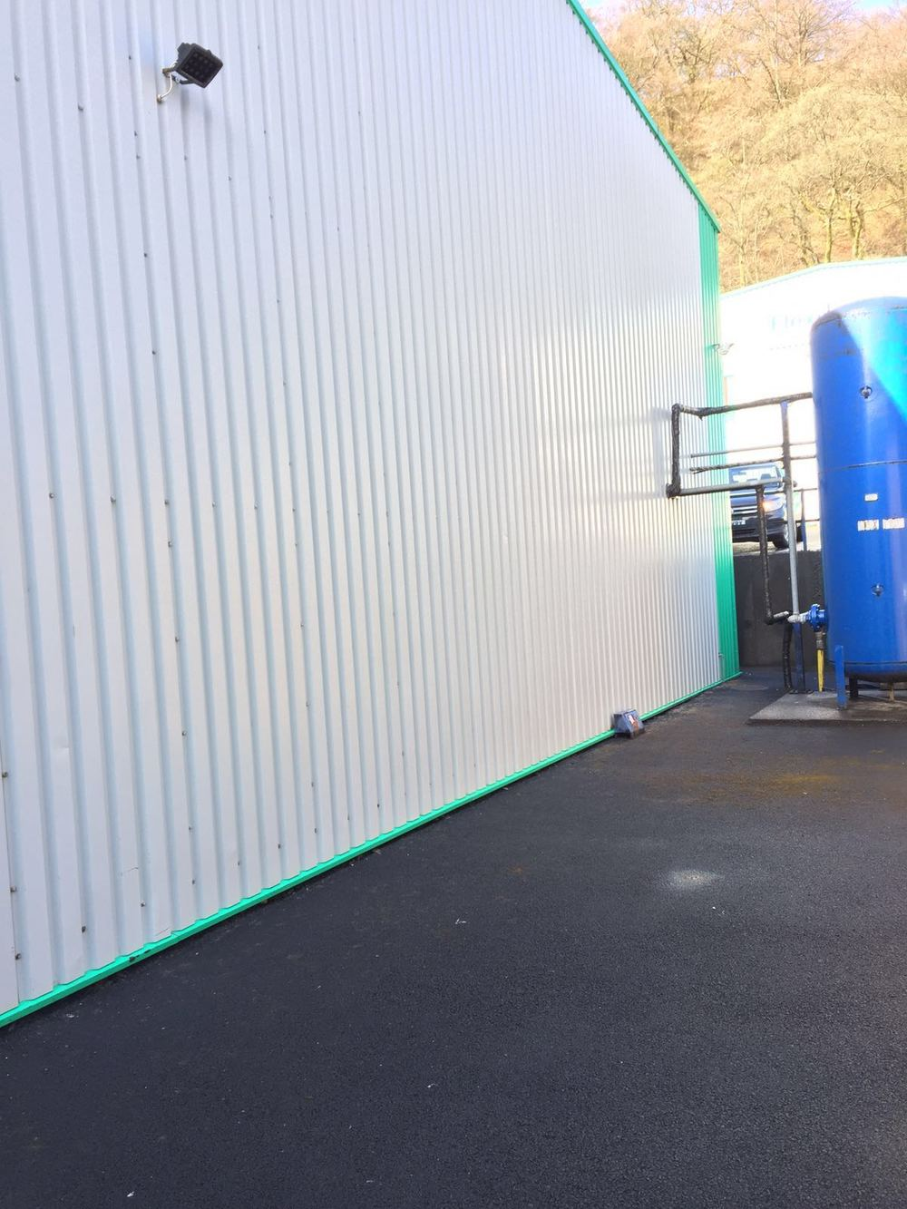 Commercial cladding Softwash treatment at a company in Helmshore, Lancashire. After Softwash.
