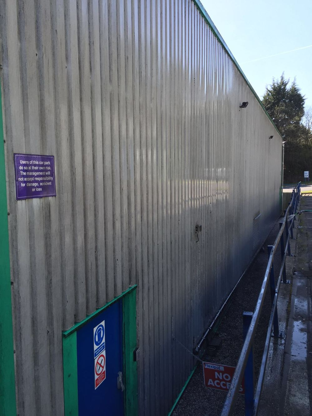 Commercial cladding Softwash treatment at a company in Helmshore, Lancashire. Before Softwash.