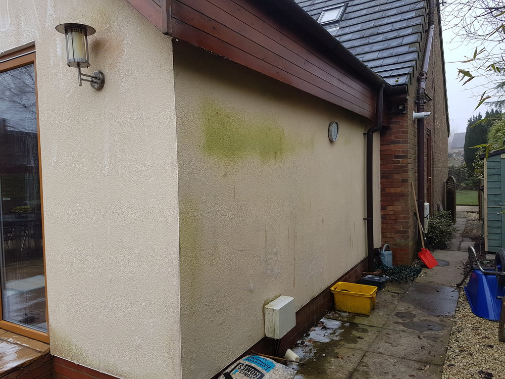 Softwash  treatment to red and green algae staining on K-Rendered property in Edgworth near Bolton.